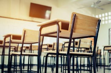 Desk chairs in classroom