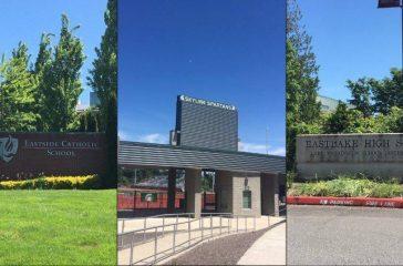 Entrances to Eastside Catholic, Skyline and Eastlake High Schools