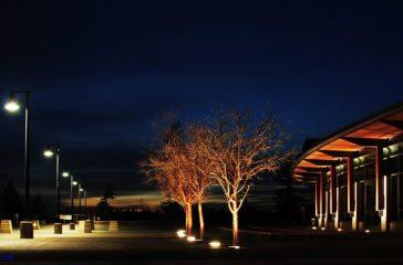Nighttime at Sammamish City Hall.