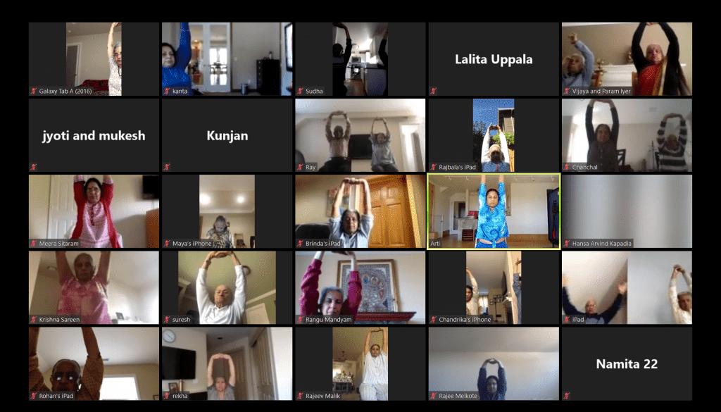 The India Association of Western Washington hosts a yoga class on Zoom (Photo by Nanda Tewari).