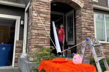 The Faaland family's candy chute for trick-or-treaters, operated by Henry Faaland (Photo by Liz Faaland)