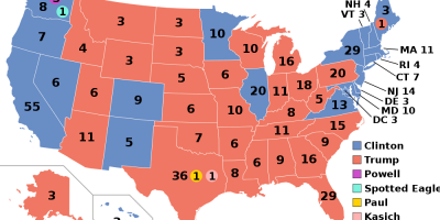 Electoral College map for the 2016 presidential election.