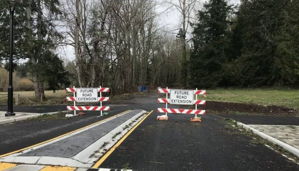 A road that leads to the empty town center site in Sammamish. (Photo by Kerry Bosworth)