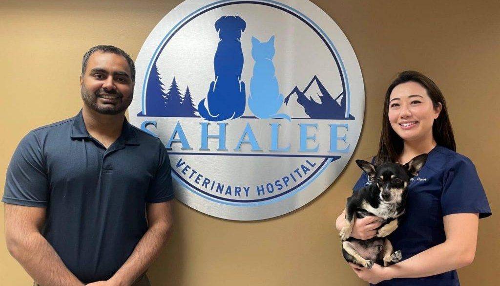 Dr. Savjit Gurm (left) and Dr. Kathy Park (right) co-own the new Sahalee Veterinary Hospital.
