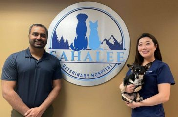 Dr. Savjit Gurm (left) and Dr. Kathy Park (right) co-own the new Sahalee Veterinary Hospital.