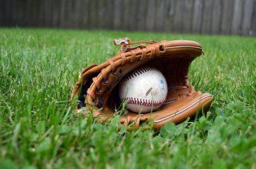 Baseball glove on grass