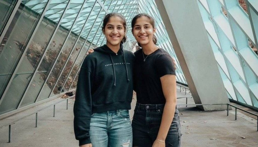 Ketki Ketkar with her twin sister, Mallika.