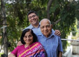 Amit Chopra with his parents.