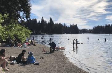 Beach at Pine Lake Park.