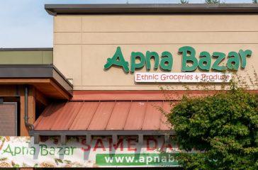 Apna Bazar sign.
