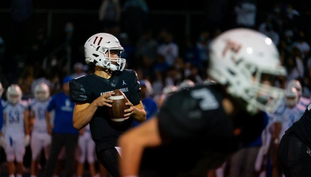 Eastside Catholic quarterback ready to throw.